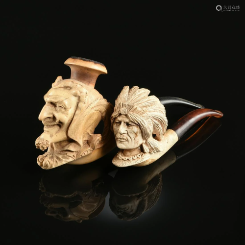 TWO MEERSCHAUM PORTRAIT TOBACCO PIPES, L…