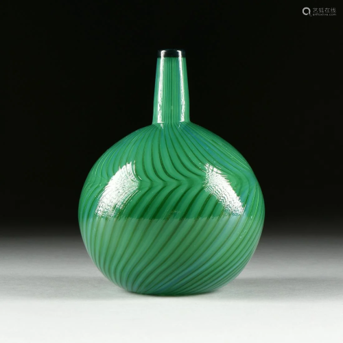 A GREEN NUUTAJARVI NOTSJO ART GLASS VASE, BY…
