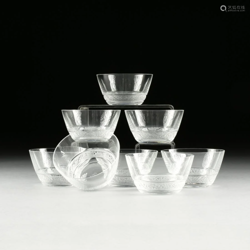 EIGHT LALIQUE DESSERT BOWLS, IN THE