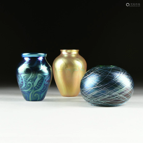 THREE ORIENT AND FLUME IRIDESCENT ART GLAS…
