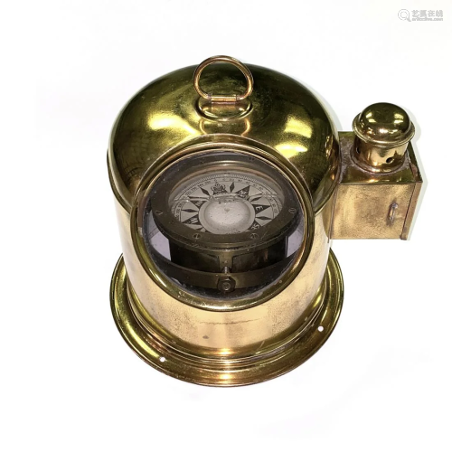 AN ITALIAN BRASS YACHT BINNACLE AND COM…