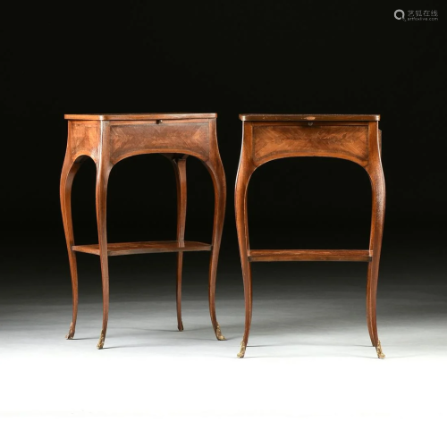 A PAIR OF LOUIS XV STYLE TULIPWOOD AND MAR…