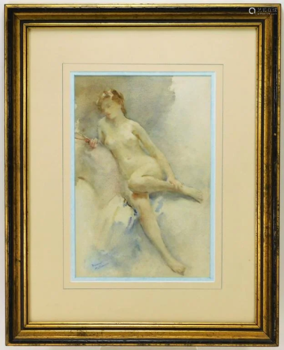 Franco Matania Nude Female Watercolor Painting
