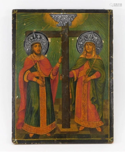 1855 Russian Mary & Joseph Silver Embellished Icon