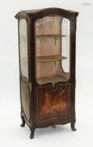 French Bronze Mounted Marquetry Vitrine Cabinet