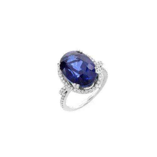 Sapphire, Diamond & 14K Ring