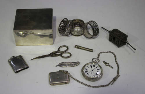 A George V silver cased keywind open-faced gentleman's pocket watch with jewelled movement, import