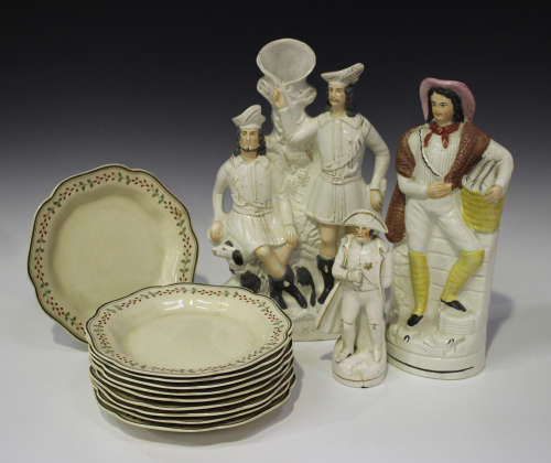 A set of ten Wedgwood plates, late 19th/early 20th century, each shaped rim painted with berries and