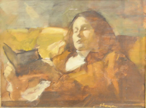 Burton Silverman (B1928), oil on canvas moun…