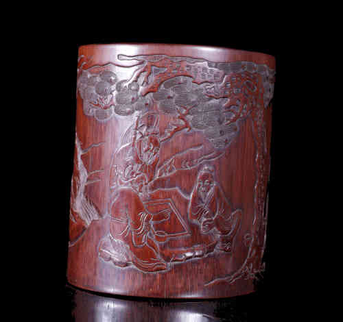 A Chinese Bamboo Brush Pot.