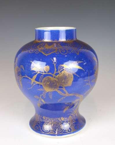 A CHINESE GILT DECORATED POWDER BLUE JAR QING