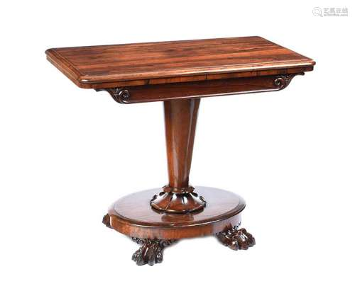 WILLIAM IV ROSEWOOD TURN OVER LEAF CARD TABLE