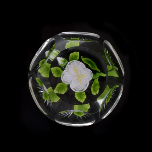 Antique Baccarat White Peony Paperweight