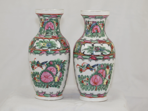 Couple Chinese Famille Rose porcelain Republic