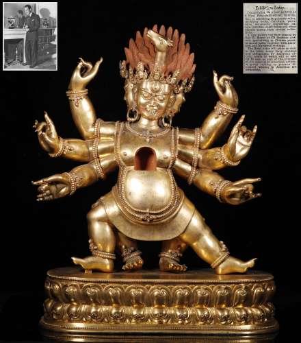 Qing Dynastyy - Large Gilt Hayagriva God Statue
