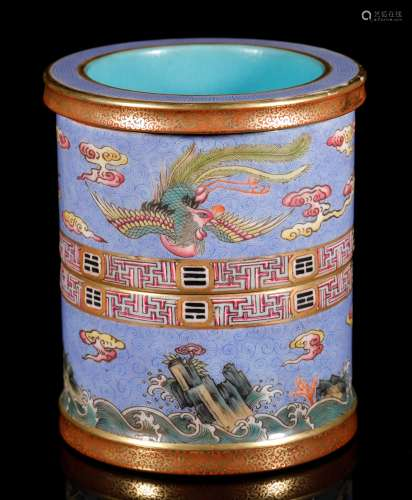 Qing Dynastyy-Colored Brush Holder with Qianlong Carving