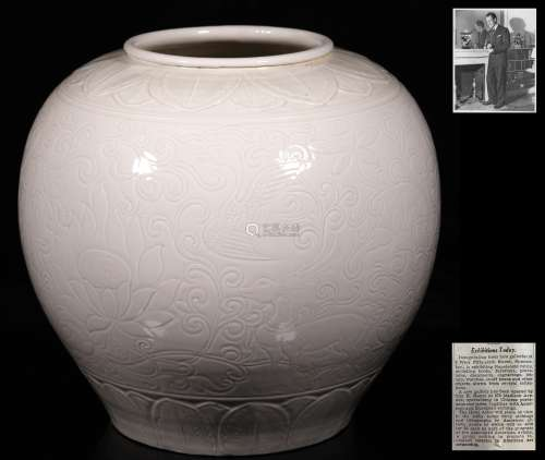 Song Dynastyy-A Flower and Crane Pattern Ding Ware Vase