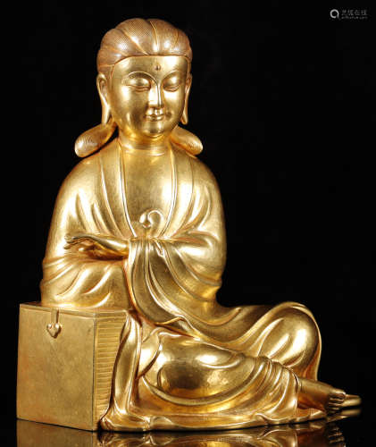 Qing Dynastyy - Pure Gold Relaxing Buddha Statue