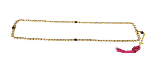 Qing Dynastyy - 108 Pure Gold Beads Gem Inlay