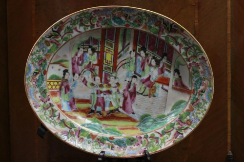 19th.C Chinese Rose Medallion Porcelain Plate
