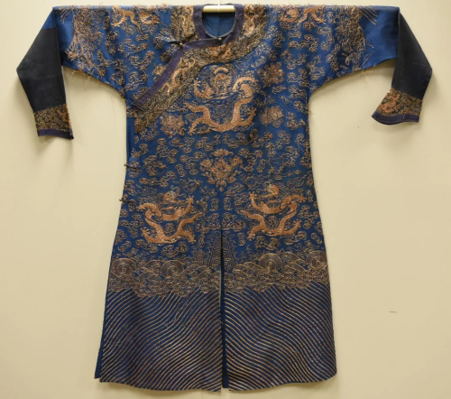 Chinese Kesi Embroidered Blue Dragon Rob…