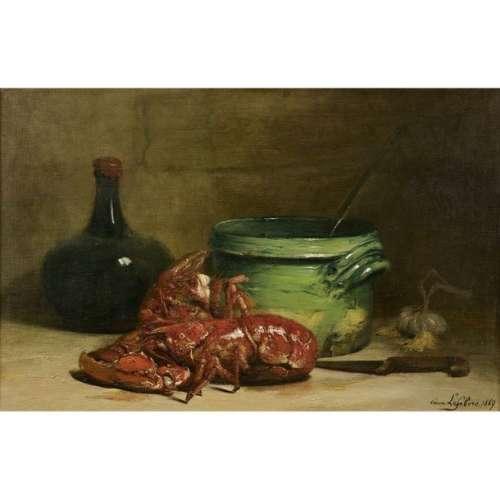 Ernest LEFèVRE (1850 1889) Nature morte aux homard…