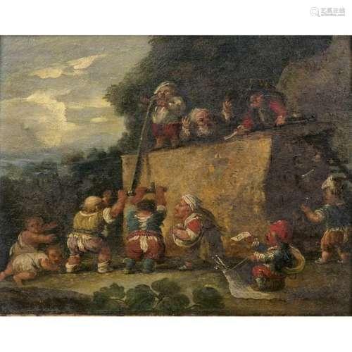 Attribué à Enrico ALBRICCI (1714 1775) Nains scian…