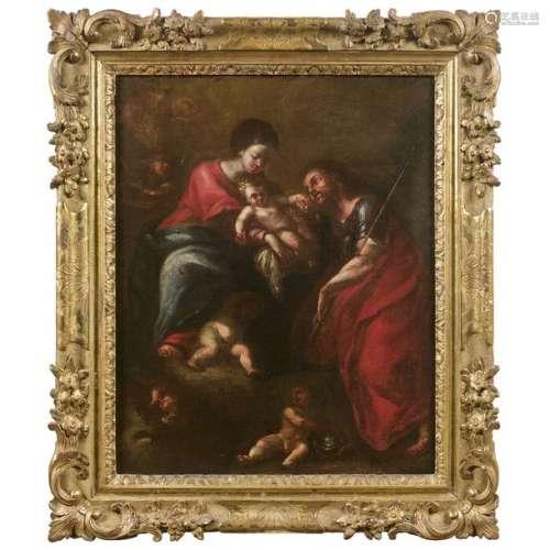 ÉCOLE Génoise du XVIIe siècle La Sainte famille en…