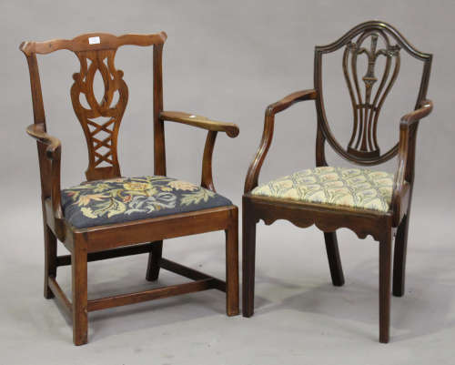 A George III fruitwood pierced splat back elbow chair, height 92cm, width 67cm, together with