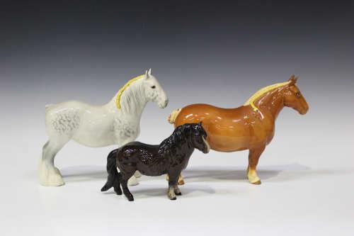 Six Beswick horses, including light chestnut Suffolk Punch, No. 1359, Burnham Beauty, No. 2309,