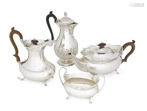 A three-piece tea and coffee service, Birmingham, c.1922, Alexander Clark & Co., comprising a tea