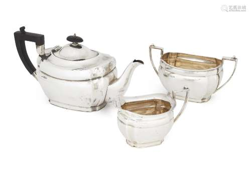 A three piece silver tea set, Sheffield, c.1923, Alexander Clark & Co., comprising a teapot, sugar
