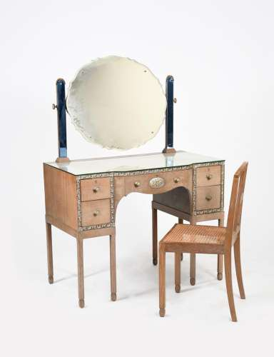 A P E Gane bedroom suite, commissioned in 1926, comprising dressing table, chair, wardrobe and