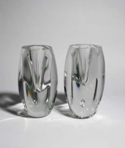 Two Iittala glass Claritas vases designed by Timo Sarpaneva, designed 1983, model no.1577, thick