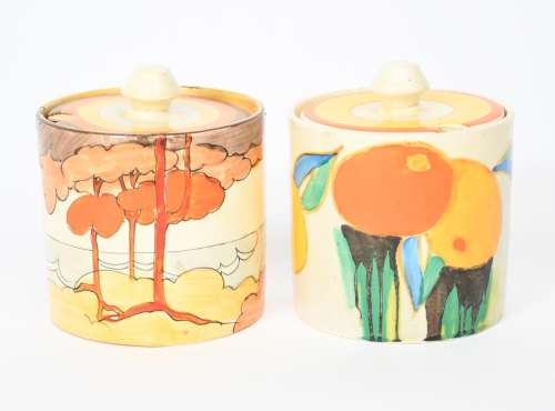 'Coral Firs' a Clarice Cliff Bizarre Cylindrical preserve pot and cover, painted in colours, and