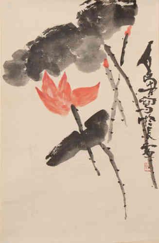 A Chinese Lotus Painting, Shi Lu Mark
