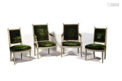 Suite of two armchairs and two chairs in moulded and painted wood, with rectangular backs, the curved front belt resting on tapered fluted legs surmounted by rosettes in the squares, stamped CIYM, (paint redone).  Louis XVI period (restorations). Armchair : H : 97 cm, L : 58 cm Chair : H : 90 cm, L : 52 cm