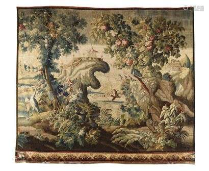 Tapestry panel from the Royal Manufactory of Aubusson (France) in wool and silk.  Two rocks in the centre, the first one with an Asian pagoda in perspective and the one on the right with a perched parrot surrounded by beautiful coloured vegetation. A stilt-walker on the left and a house in perspective on the right with geometrically stylized fans. Mid 18th century Louis XV period H: 283 cm, L: 305 cm (Some maintenance restorations, borders folded on three sides, some wear and tear and small accidents on the border).