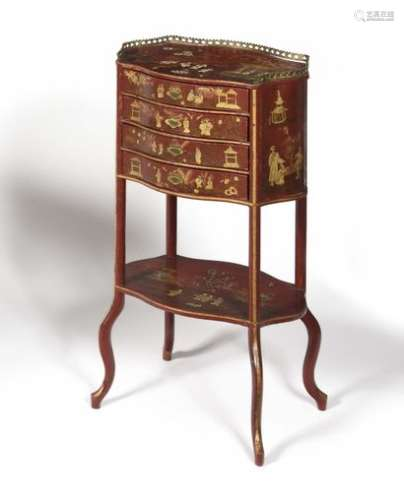 Small table in Parisian varnish with a red background in the taste of the Far East, opening with four drawers and resting on uprights joined by a spacer shelf.  Late 19th century.  H : 78 cm, W : 41 cm, D : 30 cm