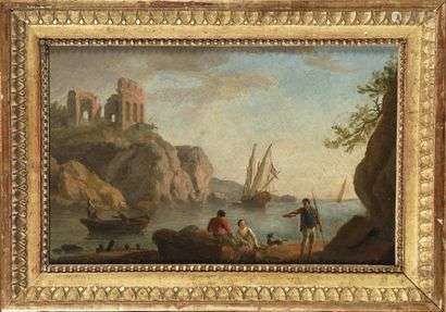 Late 18th century French school, follower of Claude-Joseph Vernet (1714 -1789) The fishermen Oil on canvas H. 22,5 cm - L. 34,5 cm In a Louis XVI style giltwood frame.