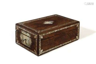 Mahogany box inlaid with mother-of-pearl engraved with friezes of foliage, foliage scrolls and palmettes, forming a safe. Mid 19th century (accidents and missing items).  H: 20 cm, W: 51 cm, D: 32 cm