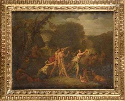 Attributed to Jacques Antoine VALLIN (circa 1760 - after 1831) Paysage d'Arcadie Walnut panel, spun and covered 43 x 56.5 cm Trace of a wax stamp at bottom right. On the reverse side of the panel, an old Restoration label