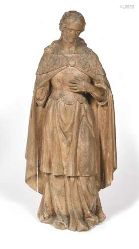 Holy Woman in wood carved in the round.  XVIIth century Height: 100 cm (some missing, restorations in particular on the left arm)