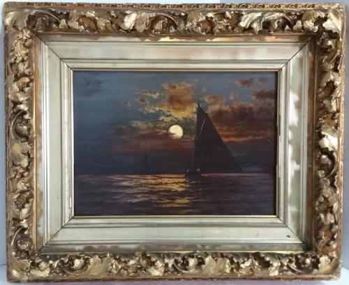Victorian Nocturne Moonlit Seascape Dorion Oil P…