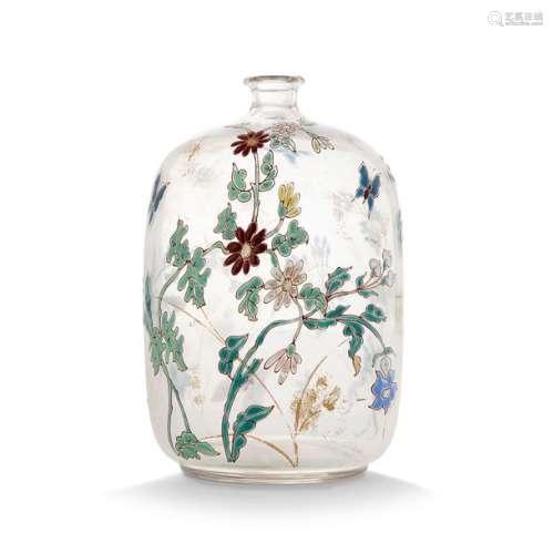 ÉMILE GALLÉ (1846 1904) Vase ovoïde bouteille en v…