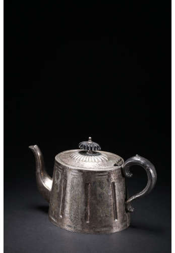 A Chinese Carved Silver Coffeepot