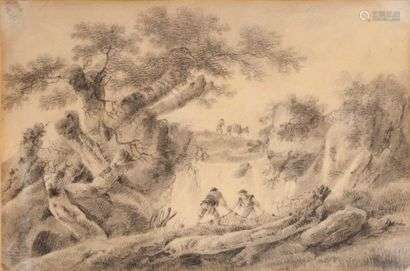 JEANS SCHOOL PILLAGING(LYON 1728 - 1808)Fishermen spreading their nets near a waterfallBlack pencil and blush18 x 26.5 cmInsolated Provenance: anonymous sale, February 19, 1934, n°25 as Pillement