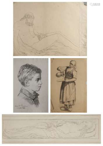FRENCH SCHOOL OF THE NINETEENTH CENTURYSet of drawings :- Studies according to the Antiquity and the Old Masters,- Statue heads, portraits...Black pencil, san-guineMiscellaneous FormatsSome of them signed and dated Louise de Baudicour 1891 or Marie de Baudicour 1879.