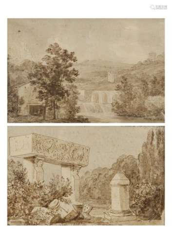 FRENCH SCHOOL OF THE NINETEENTH CENTURYLandscape with ancient ruinsLandscape at the damPair of drawings, pen and brown ink,brown wash10.8 x 17 cm and 13.5 x 20 cm