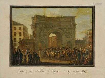 Entry of the Allies into ParisMarch 18, 1814Oil on paper on engraved line33x46 cm at sight